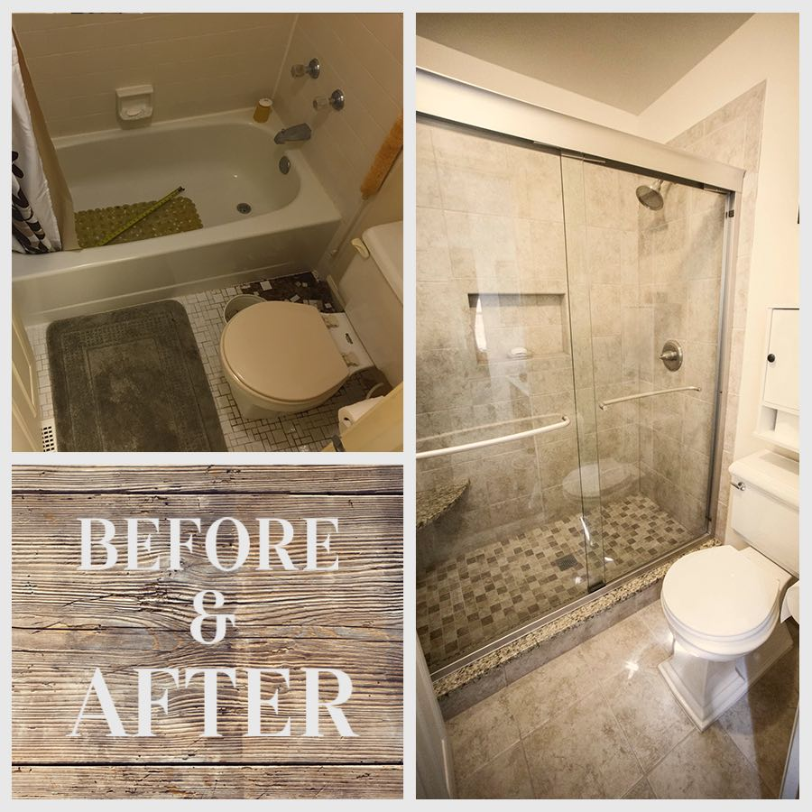 before and after remodeled bathroom shower