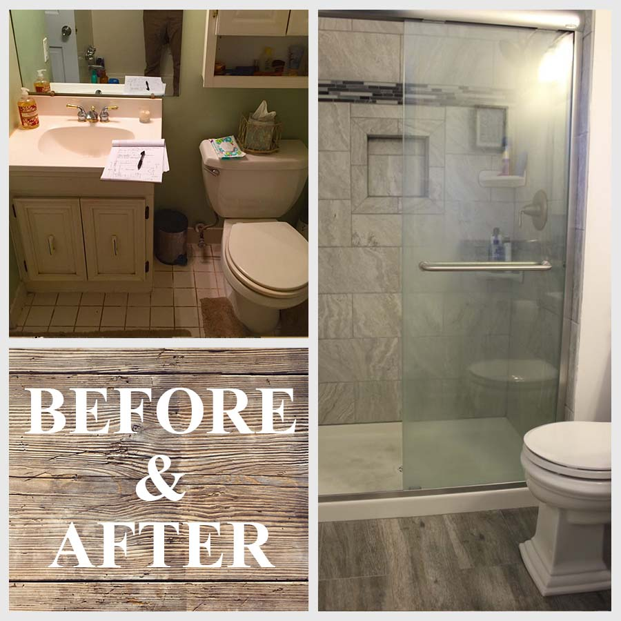 before and after remodeled bathroom