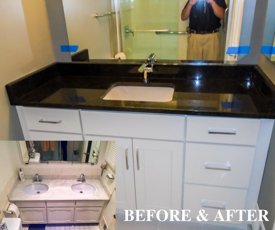 before and after remodeled bathroom sink